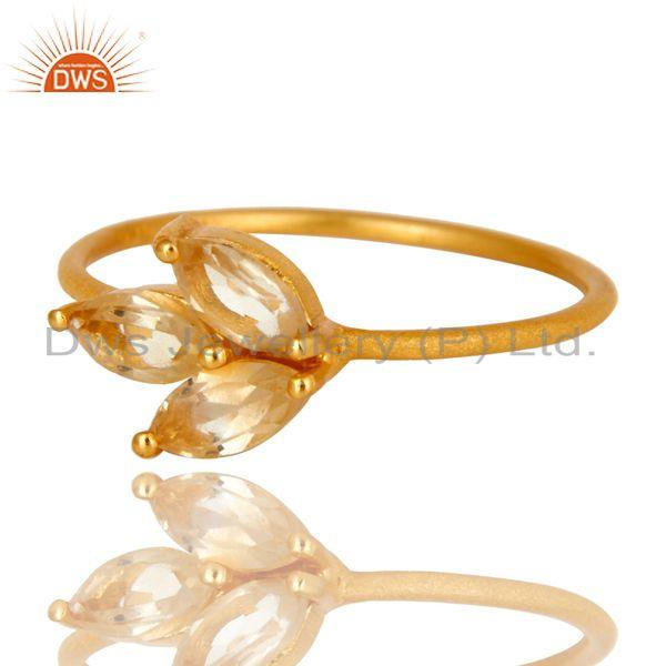 Exporter 18K Yellow Gold Plated Sterling Silver Citrine Prong Set Gemstone Stackable Ring