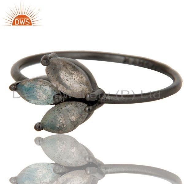 Exporter Black Oxidized Sterling Silver Labradorite Prong Set Stackable Ring