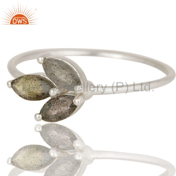 Exporter Handmade Solid 925 Sterling Silver Labradorite Prong Set Stackable Ring