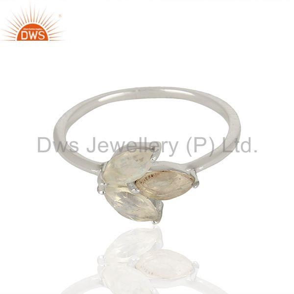 Exporter 925 Sterling Fine Silver Rainbow Moonstone Promise Rings Manufacturer