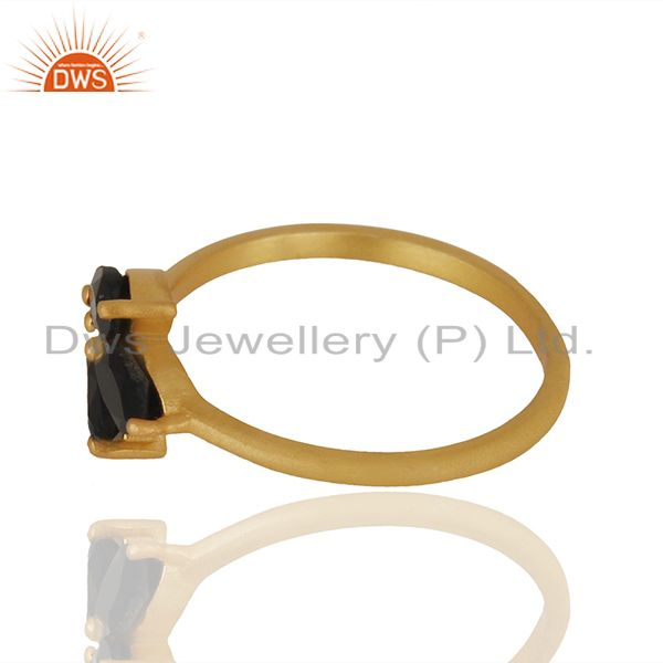 Exporter Black Onyx Prong Set Gemstone 925 Silver Gold Plated Women Rings