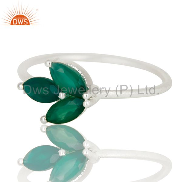 Exporter 925 Sterling Silver Green Onyx Prong Set Gemstone Ring