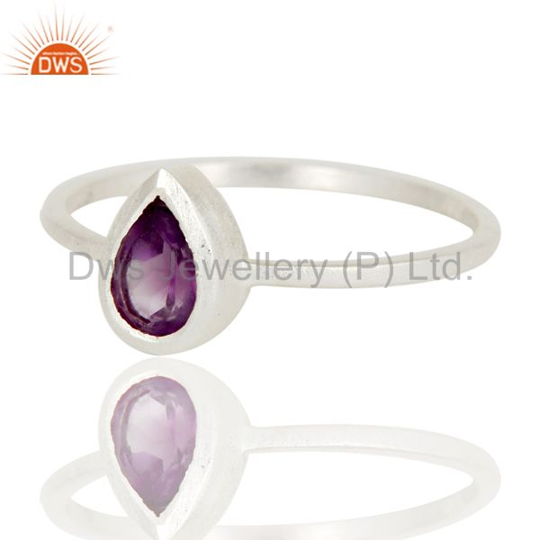 Exporter Traditional Solid Sterling Silver Amethyst Gemstone Little Stacking Ring