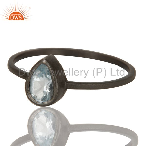 Exporter 925 Sterling Silver With Oxidized Blue Topaz Gemstone Stackable Ring