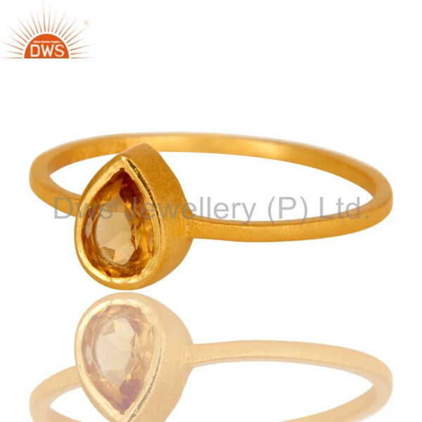 Exporter 18K Yellow Gold Plated Sterling Silver Citrine Gemstone Stacking Ring