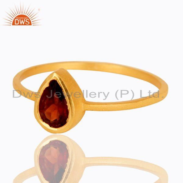 Exporter 18K Yellow Gold Plated Sterling Silver Garnet Gemstone Stacking Ring