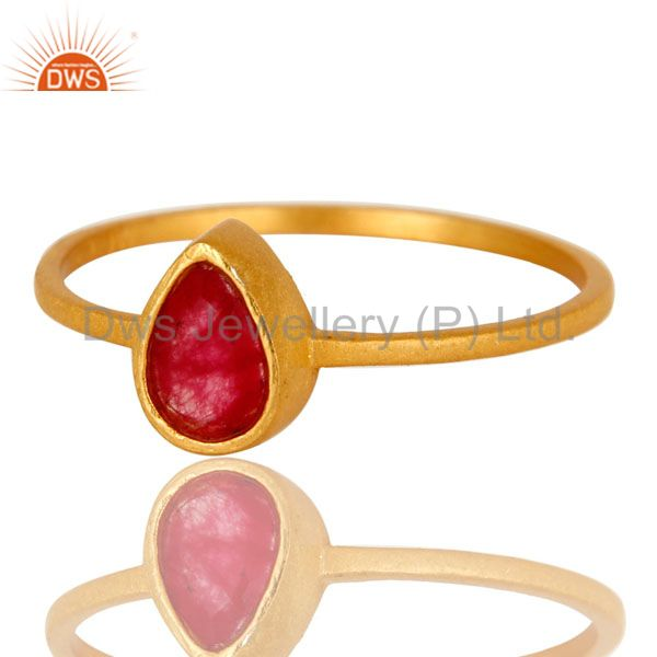 Exporter 18K Yellow Gold Plated Sterling Silver Red Aventurine Gemstone Stacking Ring