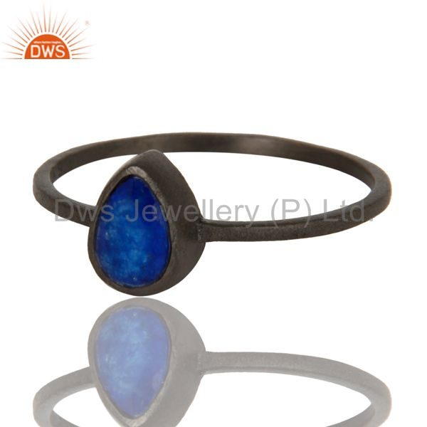 Exporter 925 Sterling Silver With Oxidized Blue Aventurine Gemstone Stackable Ring