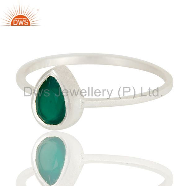 Exporter 925 Sterling Silver Green Onyx Gemstone Stackable Ring