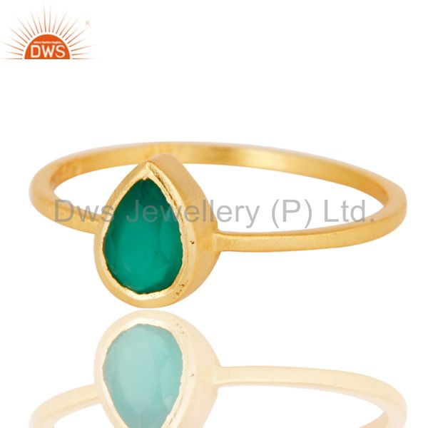 Exporter 925 Sterling Silver With 18k Gold Plated Green Onyx Gemstone Stackable Ring