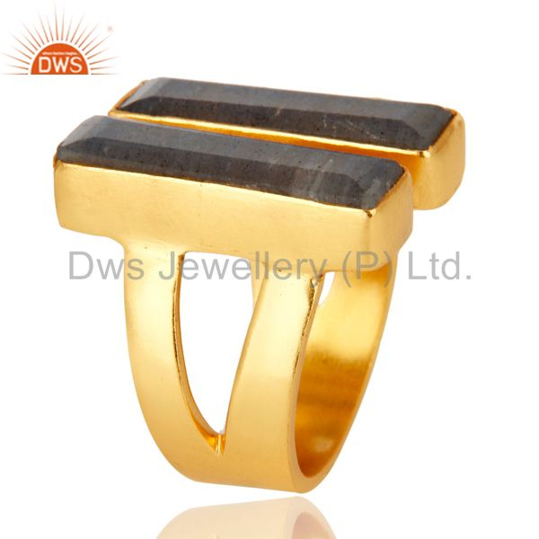 Exporter 22K Yellow Gold Plated Labradorite Brass Statement Ring Fashion Jewelry