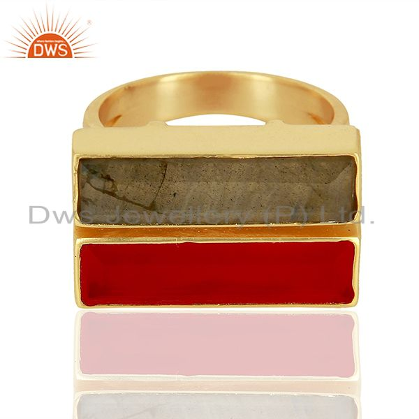 Exporter Pink Chalcedony Labradorite Gemstone Gold Plated Brass Ring Supplier