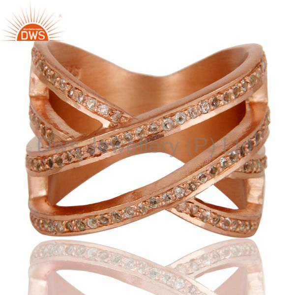 Exporter 18k Rose Gold Plated Sterling Silver Full Fill Statement Ring with White Topaz