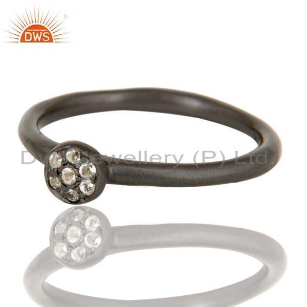 Exporter Handmade Simple Setting Black Oxidized Sterling Silver Ring with White Topaz