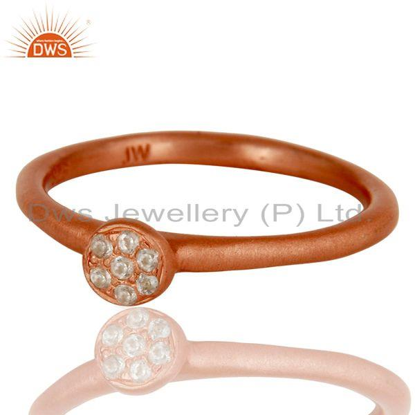 Exporter 18k Rose Gold Plated Handmade Little Sterling Silver White Zirconia Ring
