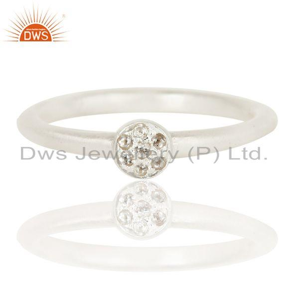 Exporter Handmade Simple Setting Solid 925 Sterling Silver Ring with White Topaz