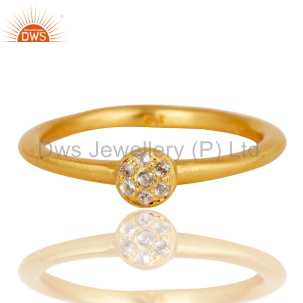 Exporter Handmade Simple Setting 18k Gold Plated Sterling Silver Ring with White Topaz
