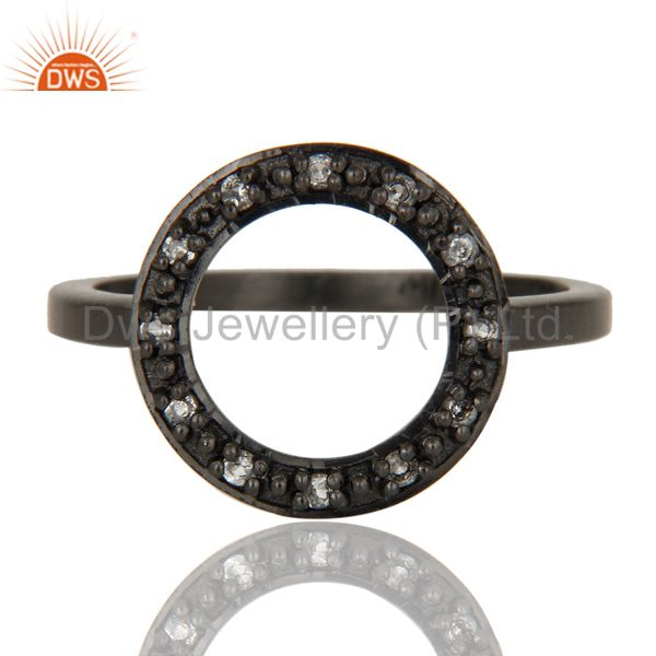 Exporter Handmade Black Oxidized Sterling Silver Round Design Ring with White Topaz