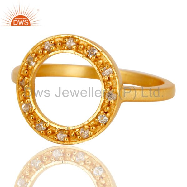 Exporter 18k Yellow Gold Plated Sterling Silver Round Design Ring with White Topaz