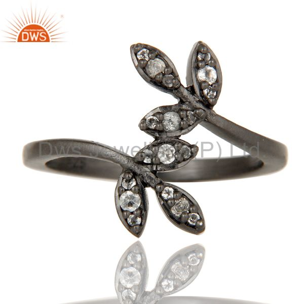 Exporter Handmade Flower Design Black Oxidized Sterling Silver Ring with White Topaz