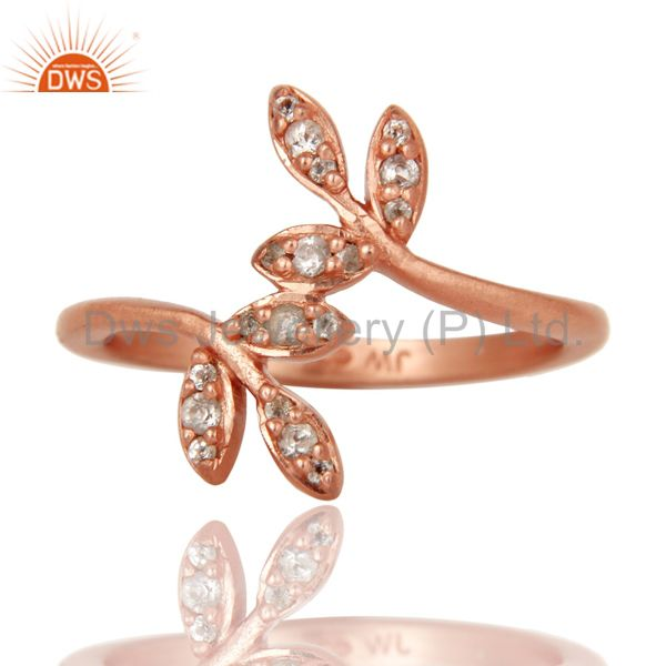 Exporter Flower Design 18k Rose Gold Plated Sterling Silver Ring with White Topaz