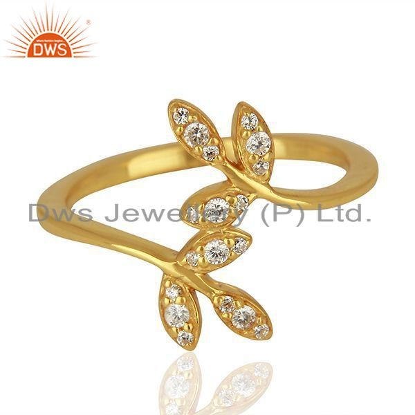 Exporter Leaf Design Gold Plated 925 Silver CZ Engagement Ring Jewelry Supplier