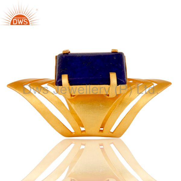 Exporter 22K Yellow Gold Plated Handmade Fashion Natural Lapis Lazuli Brass Knuckle Ring