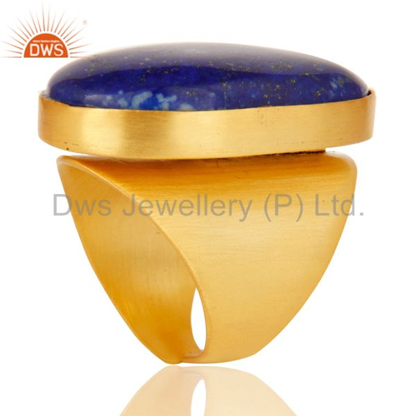 Exporter 22K Yellow Gold Plated Handmade Wide Natural Lapis Lazuli Brass Dome Ring