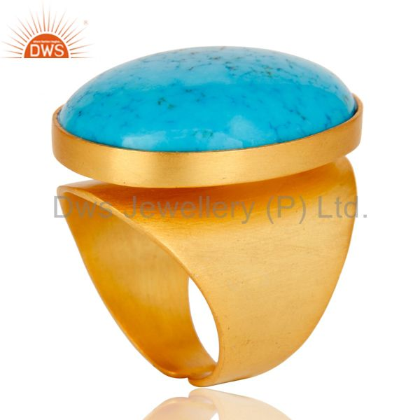 Exporter 22K Yellow Gold Plated Handmade Wide Natural Turquoise Brass Dome Ring Jewellery