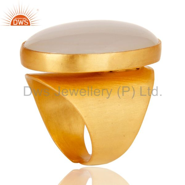 Exporter 22K Yellow Gold Plated Handmade Wide Natural Chalcedony Brass Dome Ring