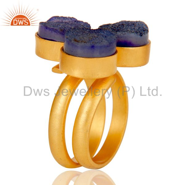 Exporter 22K Gold Plated Handmade Purple Natural Druzy Brass Statement Ring Jewellery