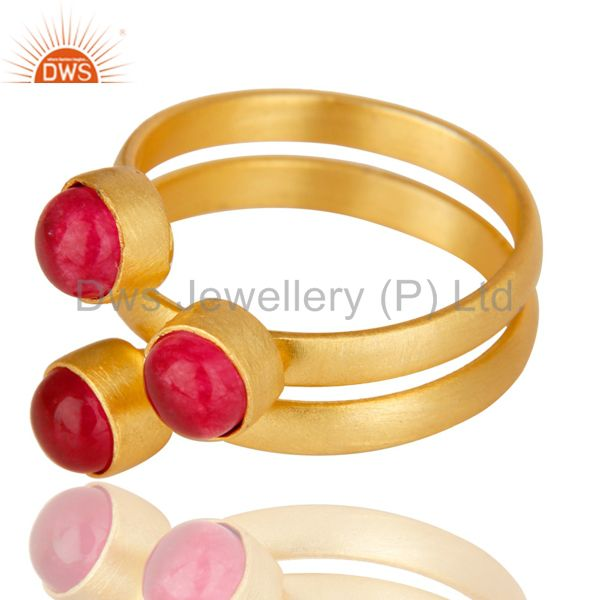 Exporter Natural Red Aventurine Quartz Statement 18K Gold Plated Brass Ring Jewelry