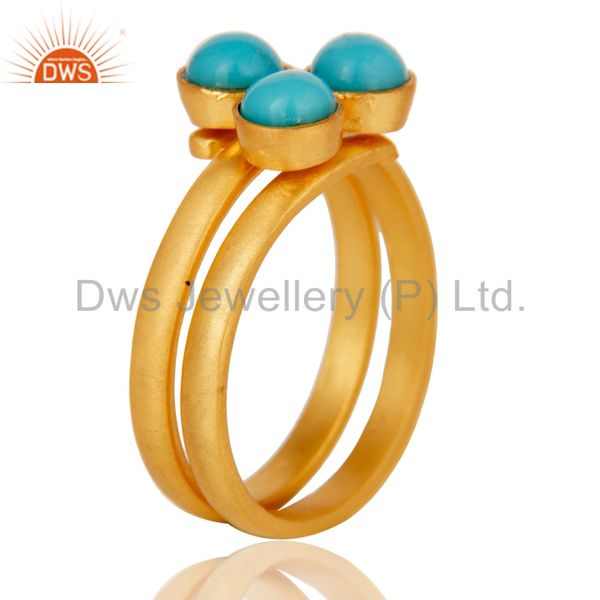 Exporter 22K Yellow Gold Plated Handmade Matrix Turquoise Brass Stackable Ring Jewellery