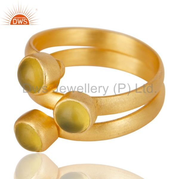 Exporter Beautiful 14K Yellow Gold Plated Handmade Dyed Chalcedony Statement Brass Ring