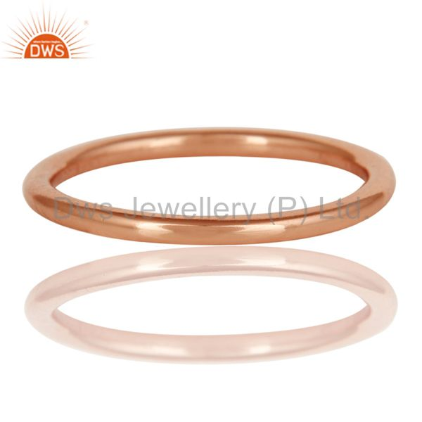 Exporter 18K Rose Gold Plated 925 Sterling Silver Art Deco Engagement Band Ring Jewelery