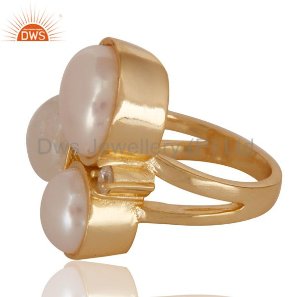 Exporter 14K Yellow Gold Plated Rainbow Moonstone Pearl & CZ Statement Brass Ring