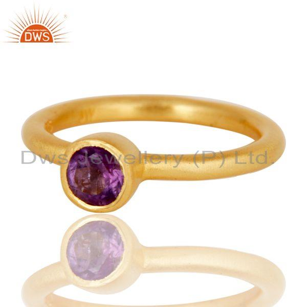 Wholesalers 18K Yellow Gold Plated Sterling Silver Natural Amethyst Stacking Ring