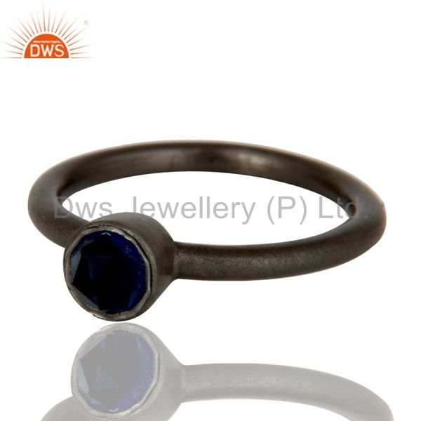 Wholesalers Oxidized Sterling Silver Sapphire Blue Corundum Stacking Ring