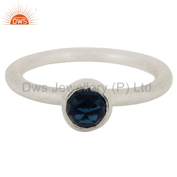Wholesalers 925 Sterling Silver Natural Blue Corundum Round Cut Stackable Ring