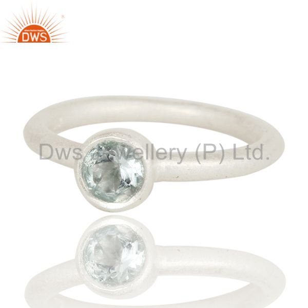 Wholesalers 925 Sterling Silver Natural Blue Topaz Round Cut Stackable Ring