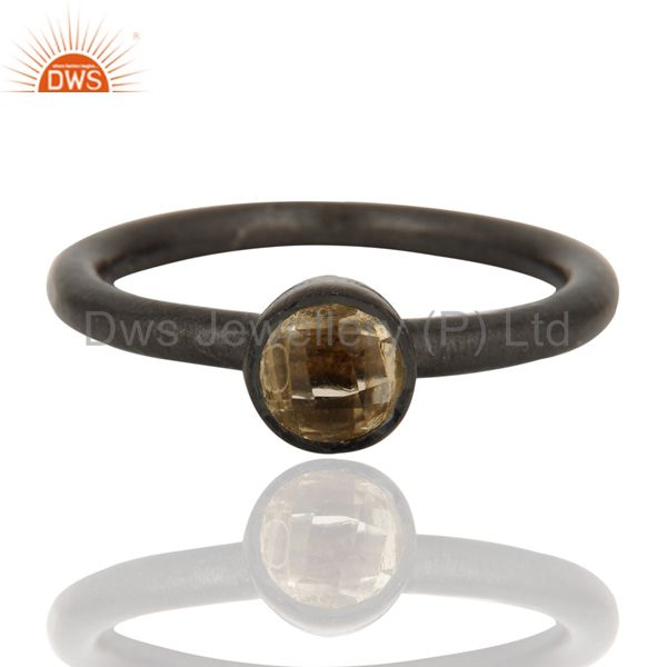 Exporter Oxidized Sterling Silver Natural Citrine Gemstone Stacking Ring