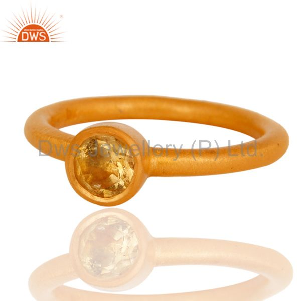 Wholesalers 18K Gold Plated Sterling Silver Natural Citrine Gemstone Stackable Ring