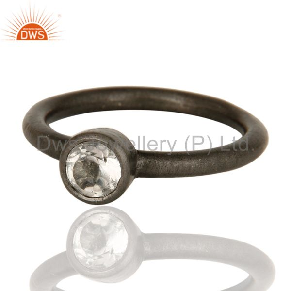 Wholesalers Black Oxidized Sterling Silver Crystal Quartz Gemstone Stack Ring