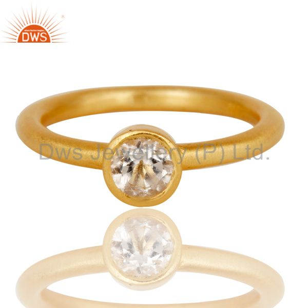 Designers 18k Gold Plated Sterling Silver Natural Crystal Quartz Round Cut Stackable Ring