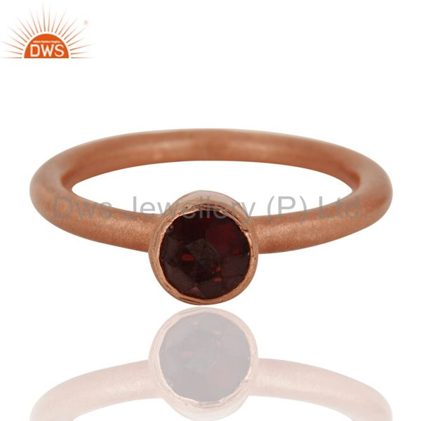 Wholesalers 18K Rose Gold Plated Sterling Silver Garnet Gemstone Stacking Ring