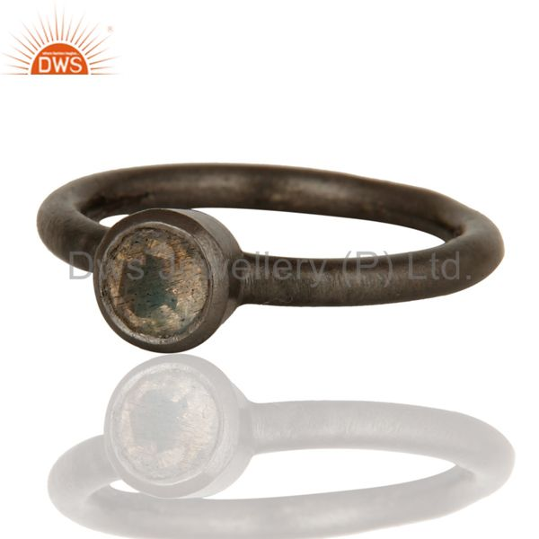 Wholesalers Black Rhodium Plated Sterling Silver Natural Labradorite Gemstone Stacking Ring