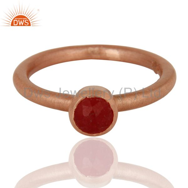 Wholesalers 18K Rose Gold Plated Sterling Silver Red Aventurine Gemstone Stack Ring