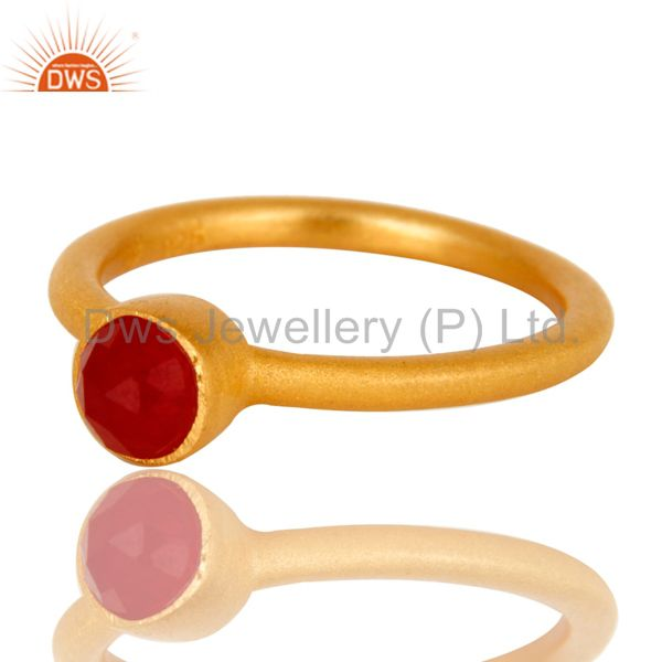 Wholesalers 22K Gold Plated 925 Sterling Silver Natural Aventurine Little Stackable Ring