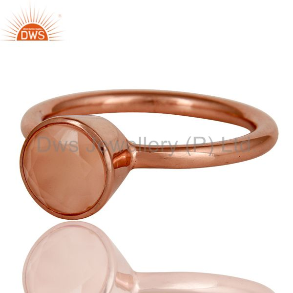 Wholesalers 18K Rose Gold Plated Sterling Silver Dyed Chalcedony Gemstone Stackable Ring