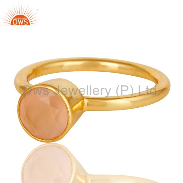 Wholesalers 18K Yellow Gold Plated Sterling Silver Dyed Chalcedony Gemstone Stackable Ring